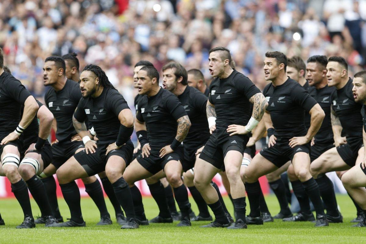 Wembley Stadium, London, England - 20/9/15 New Zealand perform the Haka before the match New Zealand v Argentina