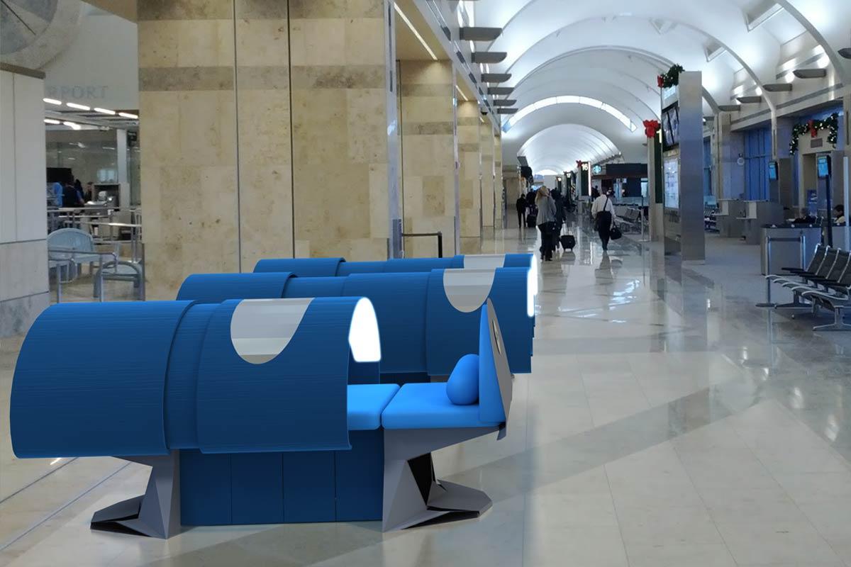 Capsule multi-sensorielle Adilson, en situation dans un aéroport